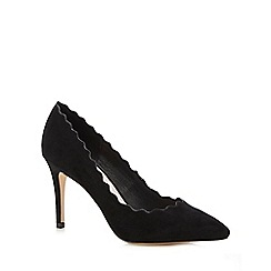 Faith - Black suedette 'Charlotte' mid stiletto heel court shoes