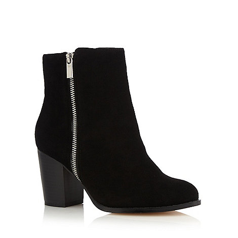 Faith - Black leather +Winnie+ high heel wide fit ankle boots