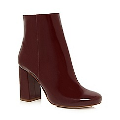 Faith - Dark red patent 'Bronte' block heel ankle boots
