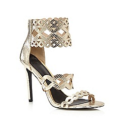 Faith - Gold snakeskin effect 'Freya' high stiletto heel ankle strap sandals