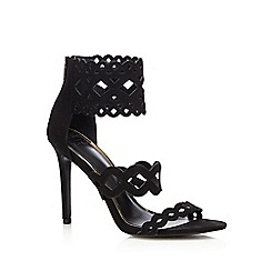 Faith - Black suedette 'Freya' high stiletto heel ankle strap sandals