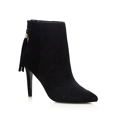 Faith - Black leather +Felicity+ high stiletto heel ankle boots