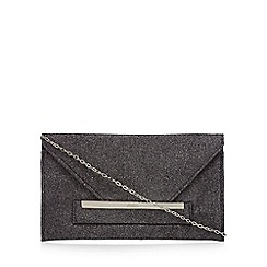 Faith - Black 'Penny' glitter envelope clutch bag