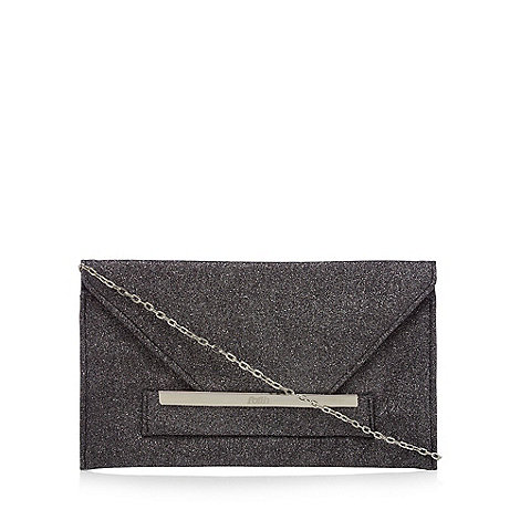 Faith - Black +Penny+ glitter envelope clutch bag
