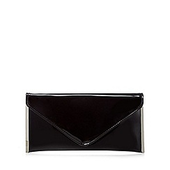 Faith - Black patent 'Promise' envelope clutch bag
