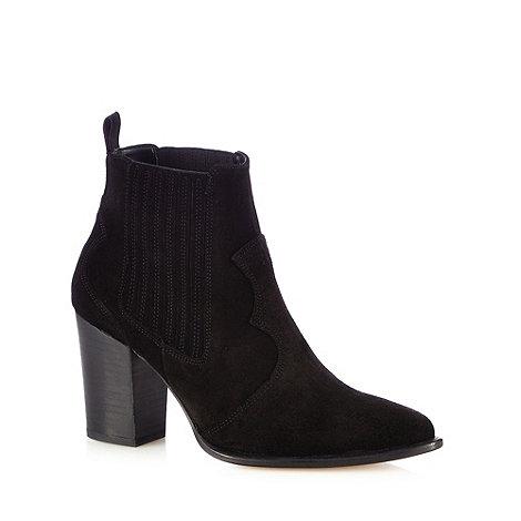 Faith - Black +Blossom+ leather ankle boots