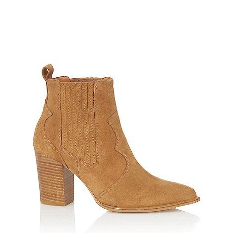 Faith - Tan leather +Blossom+ high block heel ankle boots