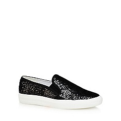 Faith - Black glitter 'Kendall' slip on trainers