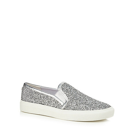 Faith - Silver glittery +Kendall+ slip on trainers