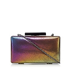Faith - Metallic iridescent box clutch bag
