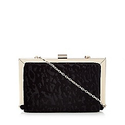 Faith - Black patterned velvet box clutch bag