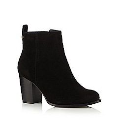 Faith - Black suede high block heel ankle boots