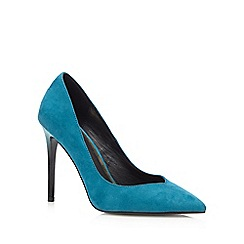 Faith - Turquoise suedette 'Courtney' mid stiletto heel court shoes