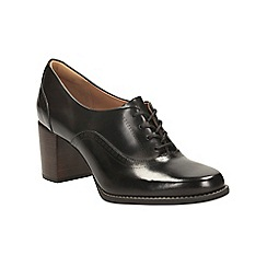 Clarks - Black Leather Tarah Victoria Lace Up Shoe