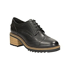 Clarks - Black Leather Balmer Bella Heeled Lace Up Brogue