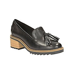 Clarks - Black Leather Balmer Haze Heeled Slip on Loafer
