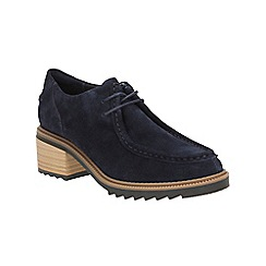 Clarks - Navy Suede Balmer Willow Heeled Lace Up Shoe