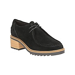 Clarks - Black Suede Balmer Willow Heeled Lace Up Shoe