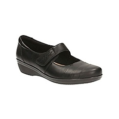 Clarks - Black leather 'Everlay Kennon' mid wedge heel slip on shoes