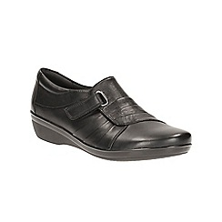 Clarks - Black Leather Everlay Luna Slip On Shoe