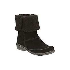 Clarks - Black Suede Avington Grace Faux Fur Lined Ankle Boot