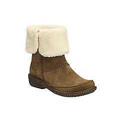 Clarks - Khaki Suede Avington Grace Faux Fur Lined Ankle Boot