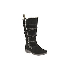 Clarks - Black Combi Suede Avington Hayes Faux Fur Lined High Leg Boot