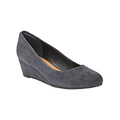 Clarks - Navy leather 'Vendra Bloom' mid wedge heel court shoes