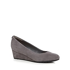 Clarks - Grey Suede Vendra Bloom Slip On Wedge Shoe