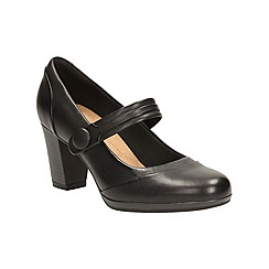 Clarks - Black leather 'Brynn Mare' mid block heel Mary Janes