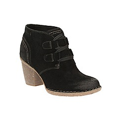Clarks - Black suede 'Carleta Lyon' high block heel ankle boots