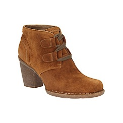 Clarks - Tan suede 'Carleta Lyon' high block heel ankle boots