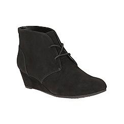 Clarks - Black suede 'Vendra Peak' mid wedge heel ankle boots