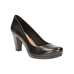 Clarks - Black leather 'Chorus Chic' high block heel court shoes