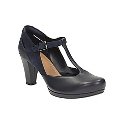 Clarks - Navy Leather Chorus Gia Heeled T-Bar Shoe