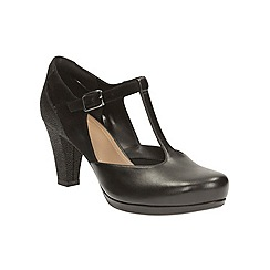 Clarks - Black Leather Chorus Gia Heeled T-Bar Shoe