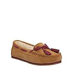 Clarks - Tan suede 'Eskimo Kiki' moccasin slippers