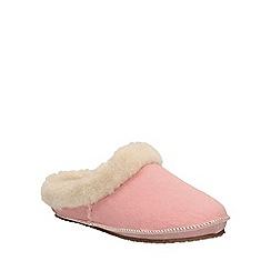 Clarks - Pink 'Eskimo Ski' mule slippers