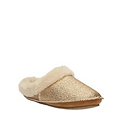 Clarks - Gold Metallic Eskimo Ski Mule Slip On Slipper
