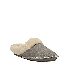 Clarks - Grey Felt Eskimo Ski Mule Slip On Slipper