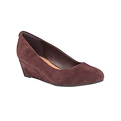 Clarks - Aubergine 'Vendra Bloom' slip on wedge shoe
