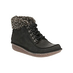Clarks - Black combi leather 'Funny Girl' lace up ankle boot
