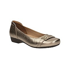 Clarks - Gold metallic 'Blanche West' slip on shoe