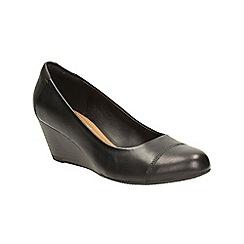 Clarks - Black leather 'Brielle Andi' wedge heeled slip on shoe