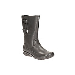 Clarks - Black leather 'Kearns Rain' biker style boot