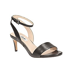 Clarks - Black leather 'Amali Jewel' heeled open toe sandal