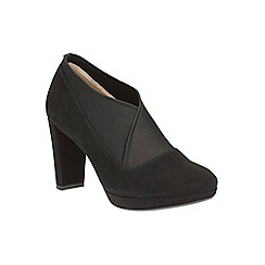 Clarks - Black suede 'Kendra Mix' heeled shoe boot