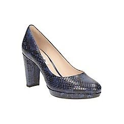 Clarks - Dark blue 'Kendra Sienna' heeled court shoe