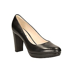 Clarks - Black leather 'Kendra Sienna' heeled court shoe