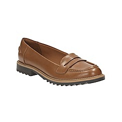 Clarks - Tan leather 'Griffin Milly' slip open loafer